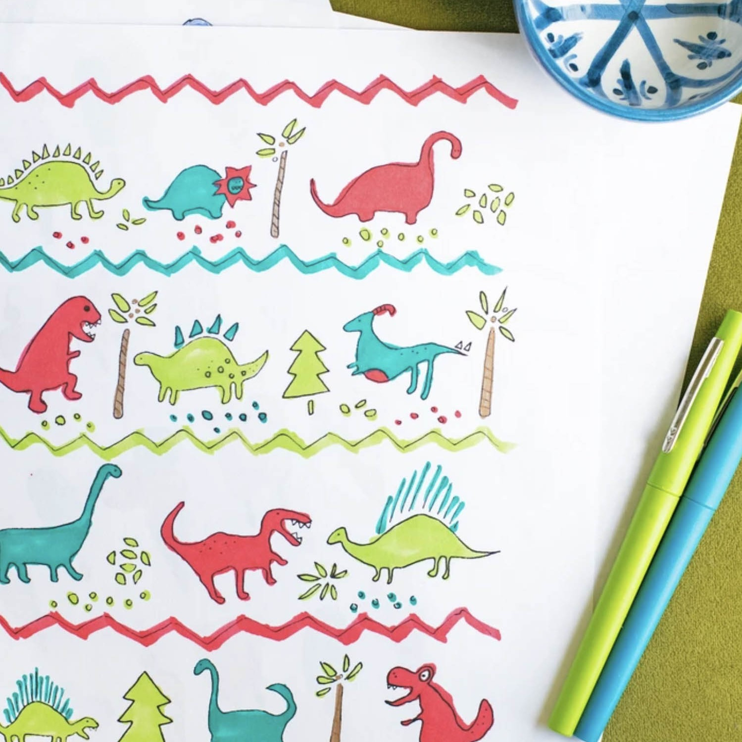 Activity Printable Day 11: Cars, Dinos & Ice Cream Coloring Sheets