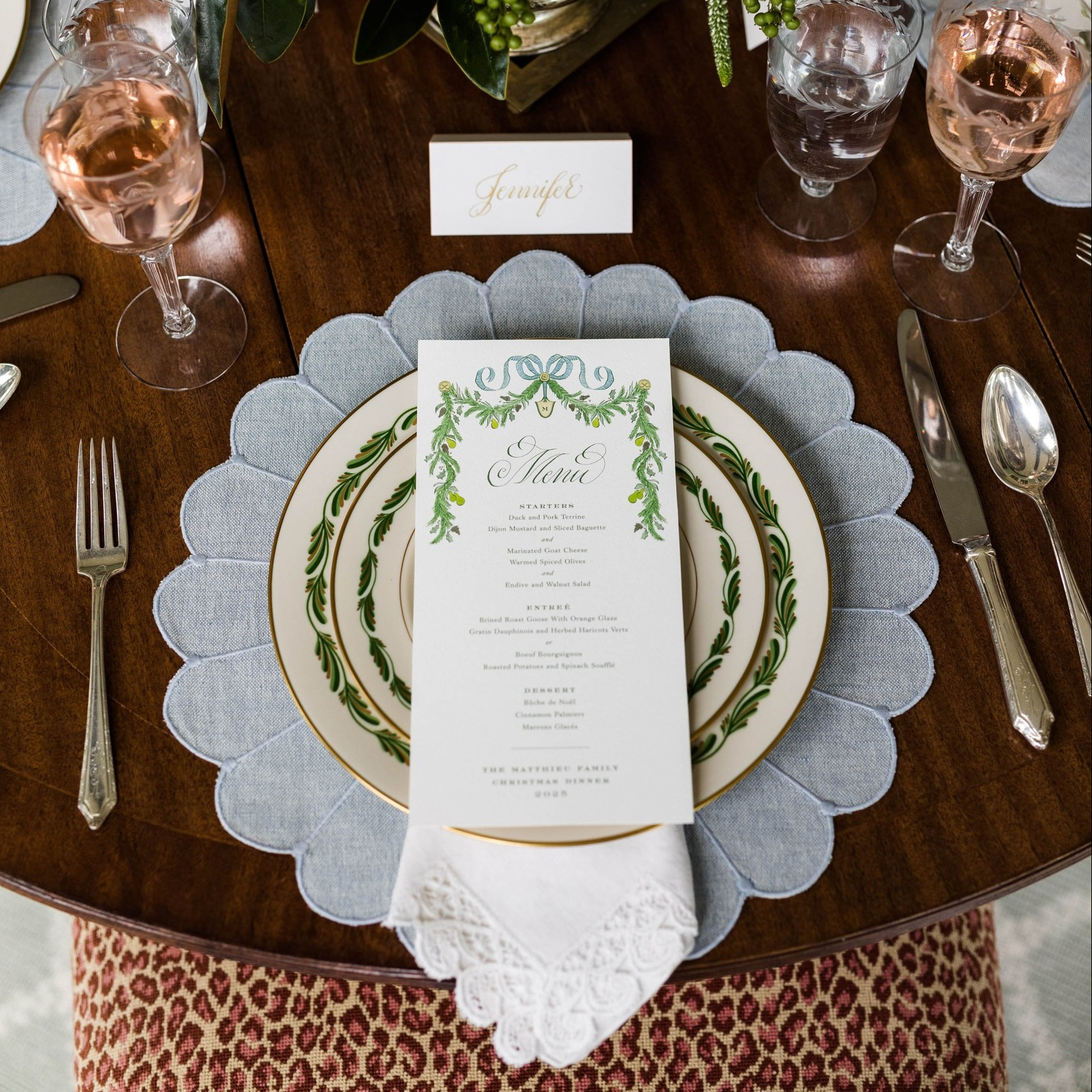 A Christmas Table Set with Family Heirlooms